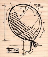 Tim Holtz Collection Balloon sketch guide wood mounted Rubber stamp - New