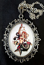 Sailor Jerry TATTOO PIN UP MERMAID Antique Silver Pendant Necklace Rockabilly 50