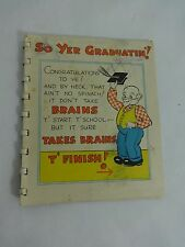 VINTAGE 1940'S GRADUATION CARD HILLBILLY THEME 25GR14 15 PAGES