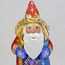 "6.5"" SANTA CLAUS STATUE CHRISTMAS RUSSIAN FATHER FROST HAND CARVED WOODEN FIGURE"