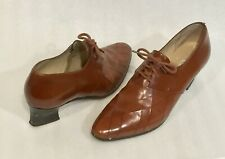 CONNIE Puritan II 6 1/2 B Lace Up Pumps Brown LEATHER 2 in Heel