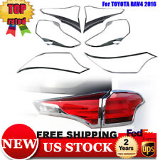 Fit 2016&2017 Toyota RAV4 Chrome Front Rear Headlight Tail Light Lamp Cover Trim