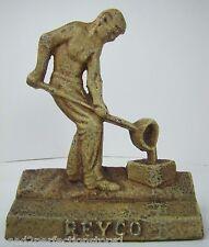 Antique Cast Iron Foundry Worker Doorstop 'REYCO' man pouring mold door stop