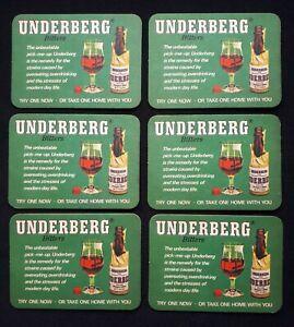 6 VINTAGE BEER MATS - UNUSED - UNDERBERG BITTERS - RHEINBERG, GERMANY - FREE P&P
