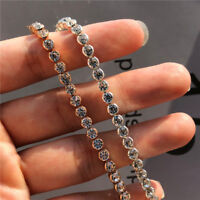 Fashion Shine Round Rhinestone Tennis Bracelet Wedding Engagement Band Jewelry