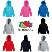 Fruit of the Loom Classic 80/20 Boys Girls Hoodie Hooded Sweatshirt Jacket
