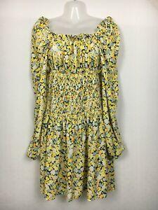 Boohoo dress 10 yellow boho tiered prairie floral shirred balloon sleeve medium