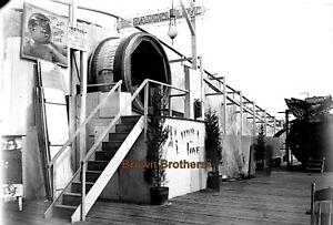 1899 Coney Island Steeple Chase Park Barrel of Love Glass Photo Negative #1 - BB