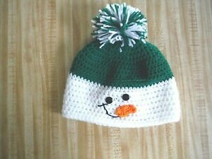 Childs Snowman winter hat with pom pom  Green and White