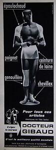 PUBLICITÉ 1961 DOCTEUR GIBAUD CEINTURE DE LAINE ÉPAULOCHAUD POIGNET CHEVILLEX