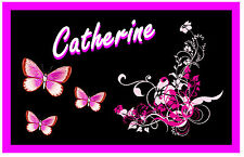 PINK / BLACK BUTTERFLY & FLOWERS  - PERSONALISED - NOVELTY  FRIDGE MAGNET - NAME
