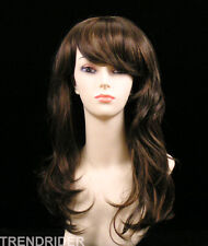 Sensual wavy long wig cholocate dark brown w/auburn highlights full bangs