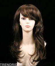 Sensual wavy long wig cholocate dark brown w/auburn highlights full bangs