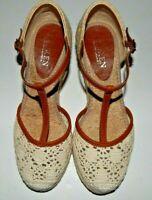 Lauren by Ralph Lauren Womens Beige Wedge Sandals Closed Toe Size 5