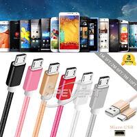 Tressé Câble chargeur Micro USB DATA Sync Pour Sony Samsung Huawei Xiaomi etc
