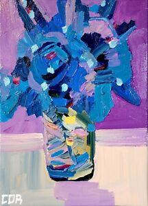 IMPRESSIONIST PAINTING BLUE FLOWER ACRYLIC ORIGINAL FINE ART FLORAL MOMS GIFT
