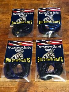 LOT OF 4 BIG DAWG BAITS BASS FISHING JIG PUNCH SKIRTS 2 COUNT PACKS MIDNIGHT PP