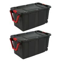 2 Case Of Large Storage Box Container Wheeled Tote Plastic 40 Gallon Organizer