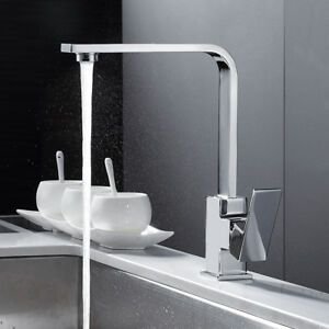 Kitchen Taps 360 Swivel Spout Sink Mixer Tap Chrome Single Lever Faucets Brass /