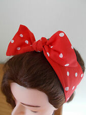HEAD SCARF HAIR BAND  RED POLKA DOT BUNNY SELF TIE BOW  ROCKABILLY  PIN UP NEW