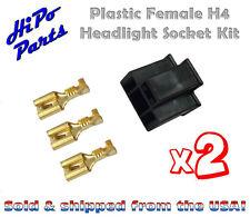 "2 x Plastic Female H4 Headlight Socket Plug Kit w/ Terminals fits 7"" Round Lamps"