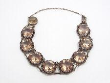 Vintage Silver & Amethyst Flower Border Link Bracelet, 23.2 grams