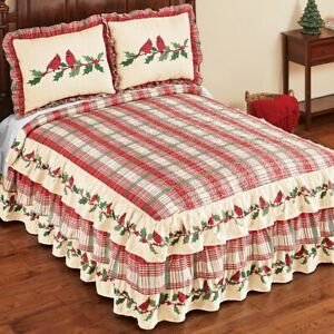 Cardinal Plaid Tiered Ruffle Christmas Twin Size Bedroom Bedspread
