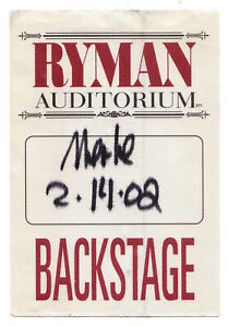 Merle Haggard Ryman Auditorium Grand Ole Opry Backstage Pass - 2002 Tour 2/14/02