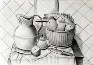 FERNANDO BOTERO / Authentic Charcoal Drawing on Paper, Art Signed & Dated. 1989