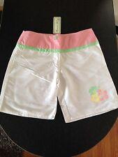 BNWT Girls Sz 14 Ozemocean Girls Brand White/Pink Swimming Longer Board Shorts