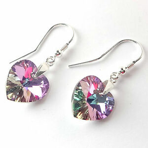 Sterling Silver Dangle Heart Earrings Made With Swarovski Elements