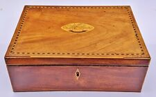 Fine Antique 19th C French Satinwood Floral Inlaid Jewelry Box w. Bronze Handles