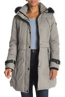 GUESS Women's Hooded Insulated Parka Puffer Jacket Coat Grey Melange Size L
