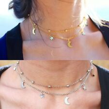 UK Moon And Star Silver Gold Necklace Chain Pendant Girls Women Choker Xmas Gift