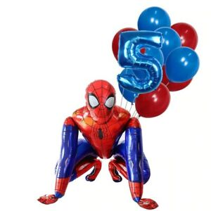 10 pcs Set 3D Spider Man Supper Hero Number Balloons Foil Balloon Birthday party