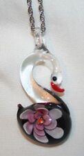 Lovely Violet Flower Glasswork Swan Pendant Necklace  ++++
