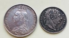 1890 Victoria Shilling & 1816 George lll Sixpence