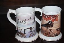 THE CANADA GOOSE AND THE CAROLINA WOOD DUCK STEIN 1983 FRANKLIN PORCELAIN