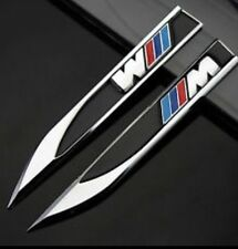 2x BMW M SPORT CHROME FINISH  WING BADGE EMBLEM DECAL Twin Pack**NEW**