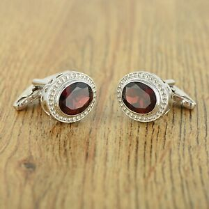 Oval Cut Natural Red Garnet 925 Sterling Silver Trendy Cuff links Men's Jewelry