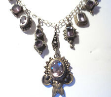Sterling Silver Amethyst Dangle Charm Necklace One-of-a-Kind Handmade Vintage