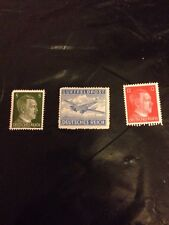 WW2 German Air Mail Stamp With 2 Hitler Head Stamps