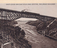 Mich Central Railroad Train 1890's Cantilever Bridge NY Photo-Lith Coffee Card