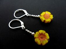 A PAIR OF AUTHENTIC CZECH GLASS BEAD  SILVER  PLATED LEVERBACK HOOK EARRINGS.