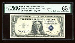 DBR 1935-D $1 Silver Gem Fr. 1613N Narrow FF Block PMG 65 EPQ Serial F42947457F