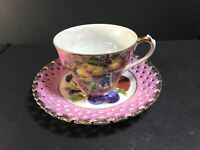 Vintage L M Royal Halsey Very Fine China Pink Tea Cup Reticulated Saucer Japan