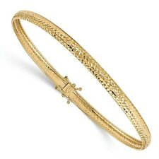 14K Yellow Gold 8in Polished D/C Flexible Bangle Bracelet