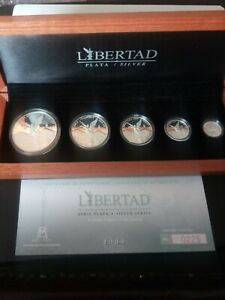 2009 silver libertad 5 coin proof set with original cert and box mintage 1000