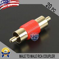 20 Pcs Bag Male To Male RCA Couplers RED w/Gold Plated Connector PACK Lot US