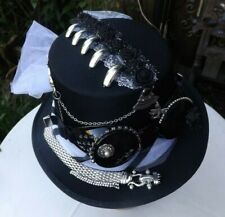 Steampunk Lady, Hand Decorated Top Hat Size 59 Black/White  ,One Of A Kind